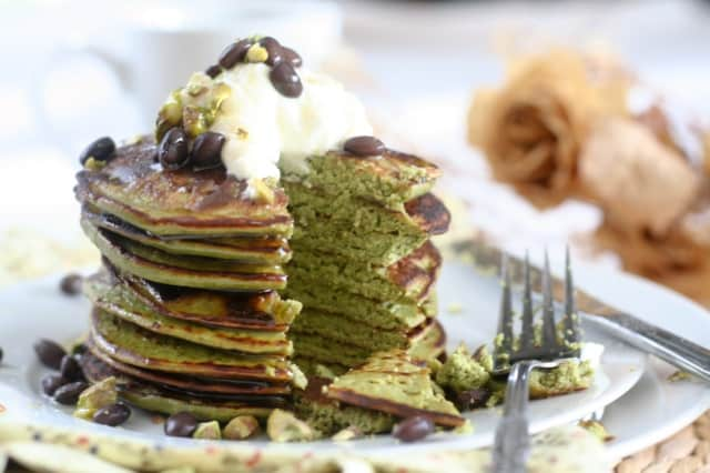 Matcha Green Tea Coconut Pancakes - The Healthy Foodie