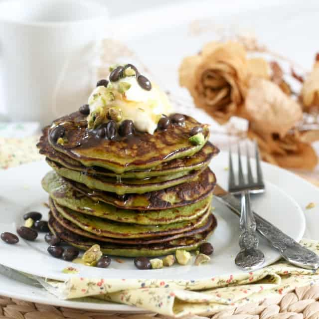 Matcha Green Tea Coconut Pancakes • The Healthy Foodie