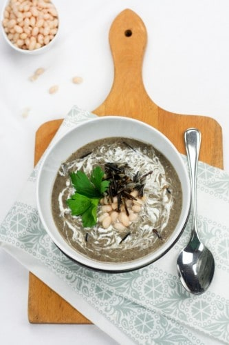 Creamy Navy Bean, Mushroom and Wild Rice Soup • The Healthy Foodie