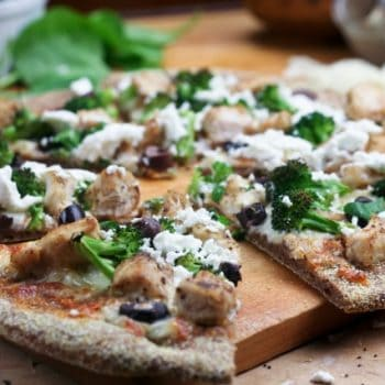 Chicken Broccoli Olive and Goat Cheese Pizza