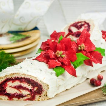 Healthy Cranberry Orange Yule Log