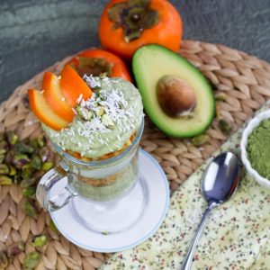 Matcha Green Tea and Persimmon Parfait