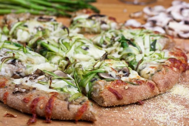 Shaved Asparagus and Mushroom Pizza • The Healthy Foodie