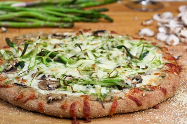Shaved Asparagus and Mushroom Pizza - The Healthy Foodie
