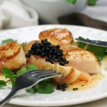 Seared Scallop with Grapefruit Supremes, Watercress and Balsamic Pearls
