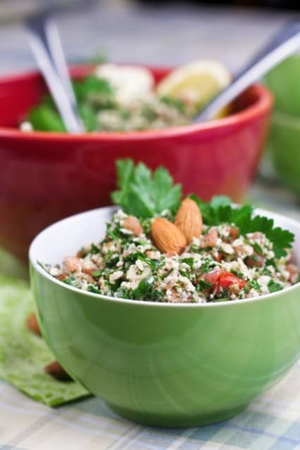 Grain Free Cauliflower Tabouleh | thehealthyfoodie.com