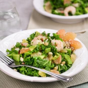 Super Simple and Summery Kale Grapefruit and Shrimp Salad