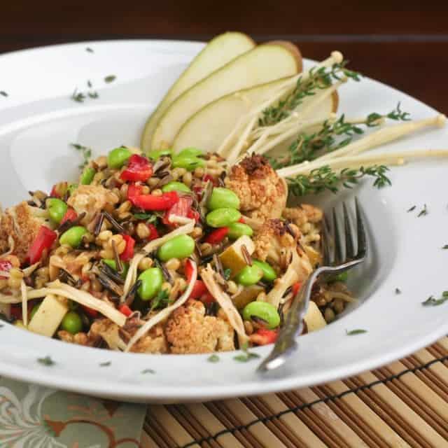 Oven Roasted Cauliflower and Edamame Salad