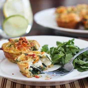 Spinach, Sundried Tomatoes and Feta Frittata Bites