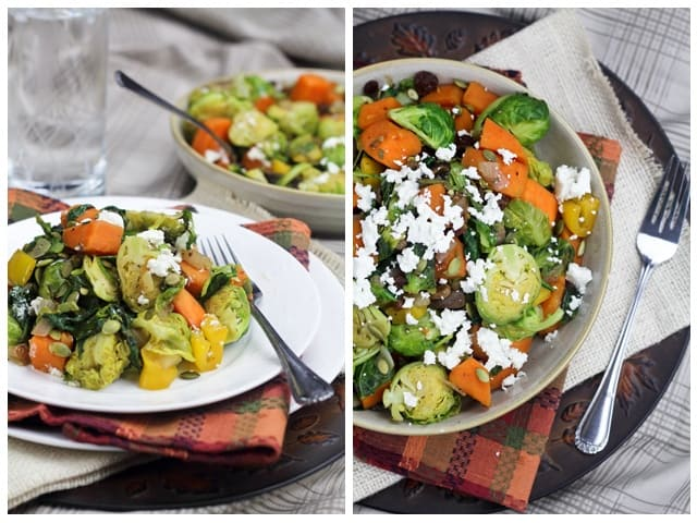 Sweet Potatoes and Brussel Sprouts Skillet Hash • The Healthy Foodie