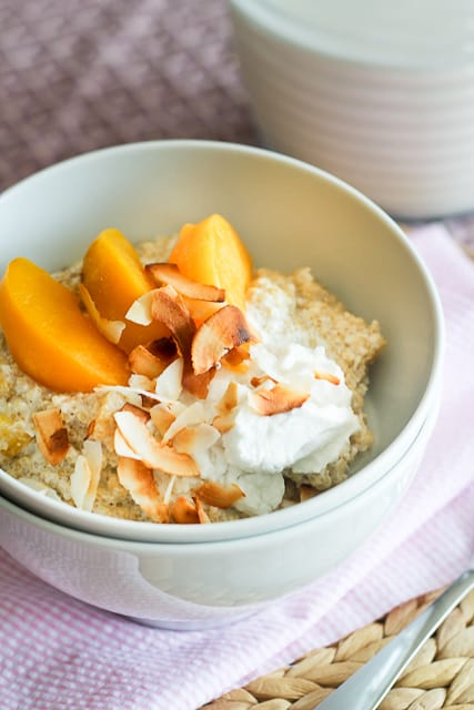 "Creamy Peaches and Coconut Quinoa ""Oatmeal"" • The Healthy ..."