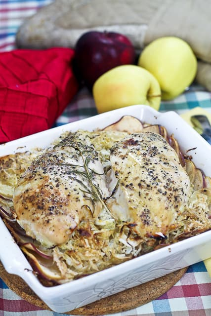 Apple and Cabbage Oven Baked Chicken • The Healthy Foodie