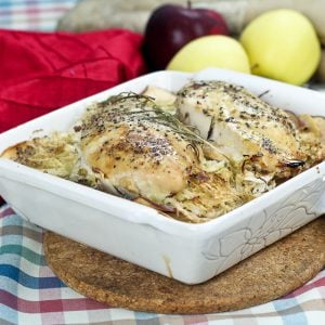 Apple and Cabbage Oven Baked Chicken