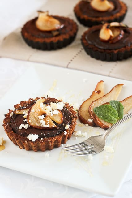 Caramelized Pears, Goat Cheese and Chocolate Tartlets • The Healthy ...