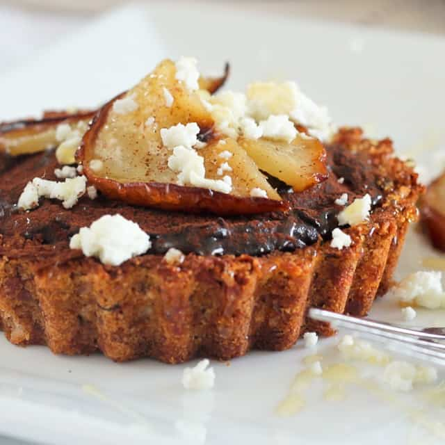 Caramelized Pears, Goat Cheese and Chocolate Tartlets - The Healthy ...