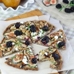 Grain Free Bosc Pear, Fresh Figs and Goat Cheese Pizza