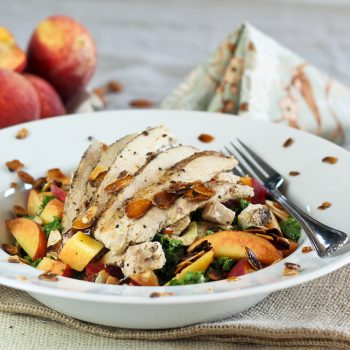 Kale, Chicken and Peach Salad, with just what it takes of Candied Almonds