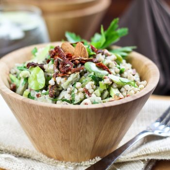 Creamy Buckwheat, Fava Bean and Sun Dried Tomato Salad