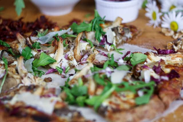 Chicken, Arugula and Parmesan Pizza, on Sun Dried Tomato Pesto