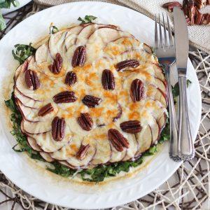 Collard Greens, Apple, Pecan and Gouda Egg White Omelette