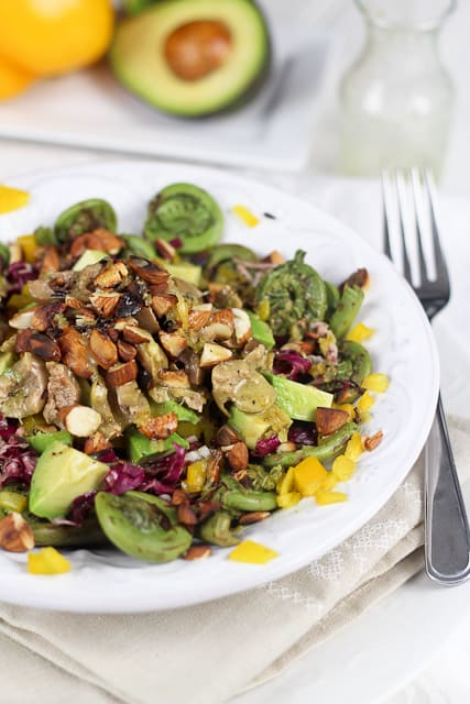 Fiddleheads, Green Olives and Almonds Salad