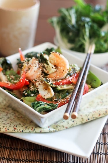 Shrimp and Baby Bok Choy Stirfry • The Healthy Foodie
