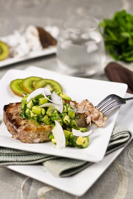 Kiwi Avocado Salsa over Rare Tuna Steak