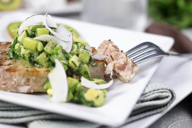 Tuna Steak with Kiwi Avocado Salsa