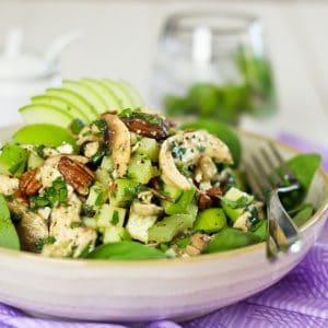 Poached Chicken, Green Apple and Goats Feta Salad