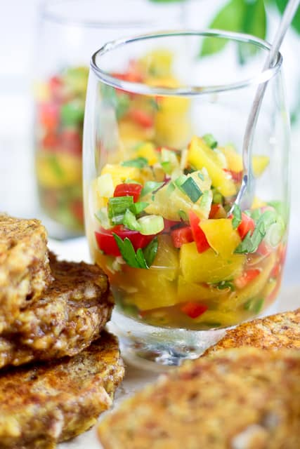 Plantain Fritters with a Spicy Sweet & Sour Peach and Bell Pepper ...