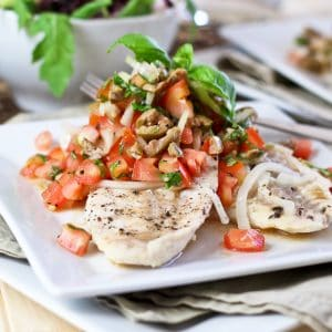 Poached Freshwater Bass with Refreshing Tomato Green Olive Salsa