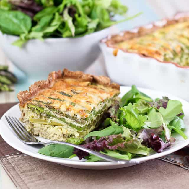 Grain Free Asparagus and Cheese Quiche | by Sonia! The Healthy Foodie