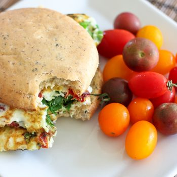 Kicked Up Spinach and Sun Dried Tomato Omelet Sandwich