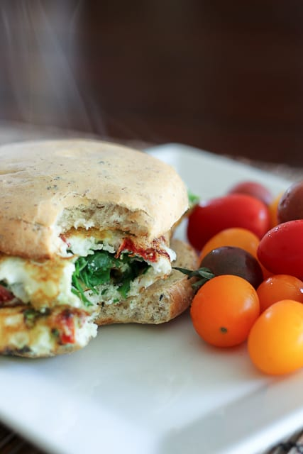 Kicked Up Spinach and Sun Dried Tomato Omelet Sandwich - The Healthy ...