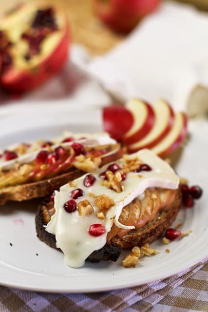 Goat Brie Cheese Apple and Pomegranate Crostinis | by Sonia! The Healthy Foodie