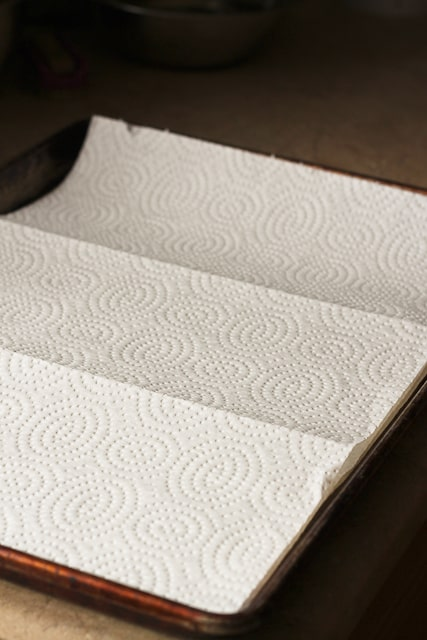Baking Sheet Lined with Paper Towels