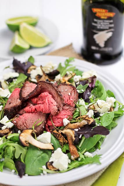 Roast Beef Salad with Shiitake Mushrooms and Goat Cheese | By Sonia! The Healthy Foodie