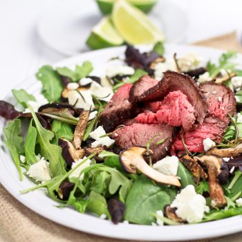 Leftover Roast Beef Salad with Shiitake Mushrooms and Soft Goat Cheese