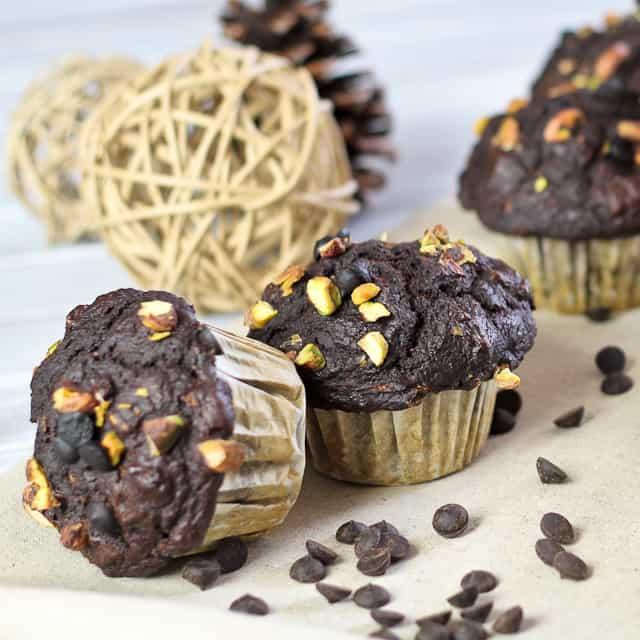 Healthy Pumpkin Zucchini Chocolate Muffins