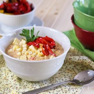 Roasted Bell Peppers and Raw Corn Chowder