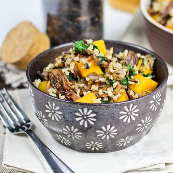 Almost Fat Free Brown & Wild Rice Dish with Butternut Squash, Spinach and Figs