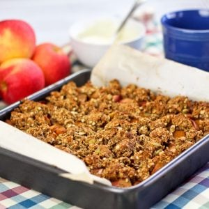 Healthy Spicy Pumpkin and Apple Crumble Squares