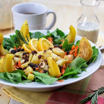 Acorn Squash and Rutabaga Salad with Creamy Orange Rosemary High Protein Dressing