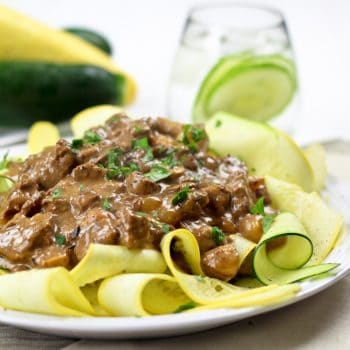 Skinny Beef Stroganoff On Zucchini Ribbons