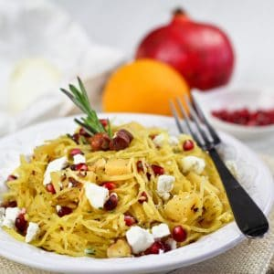 Spaghetti Squash, Pomegranate & Goat Cheese Salad