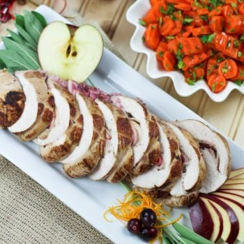 Orange, Apple and Goat Cheese Stuffed Turkey Breast with Naturally Sweetened Cranberry Sauce