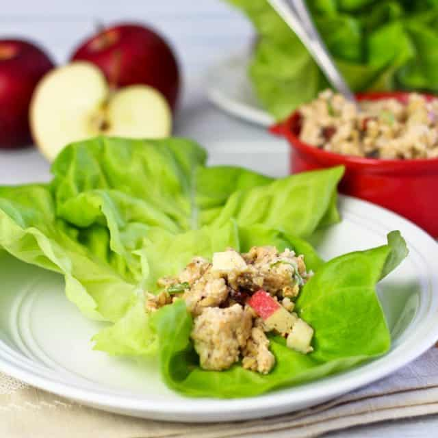 Chicken, Bulgur and Apple Cold Lettuce Wrap