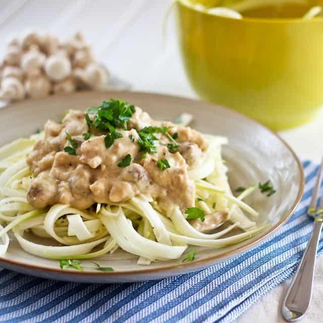 Creamy Chicken Zucchini Fettuccine