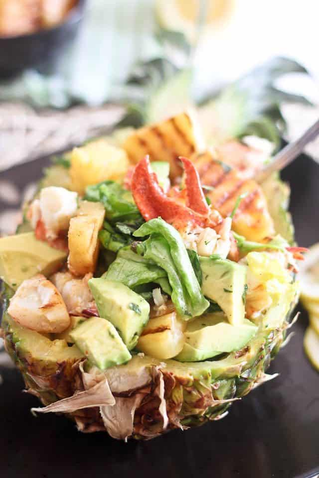 Grilled Pineapple and Lobster Salad  | by Sonia! The Healthy Foodie