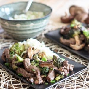 Sauteed Beef with Broccoli and Shiitake Mushrooms (and a side of my new fave: cauliflower rice)